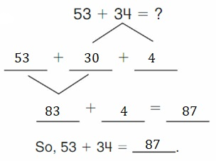 Big-Ideas-Math-Book-2nd-Grade-Answer-Key-Chapter-3-Addition-to-100-Strategies-Decompose-Add-Tens-Ones-Homework-Practice-3.4-Question-1