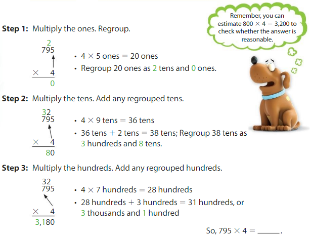 Big Ideas Math Solutions Grade 4 Chapter 3 Multiply by One-Digit Numbers 3.8 1
