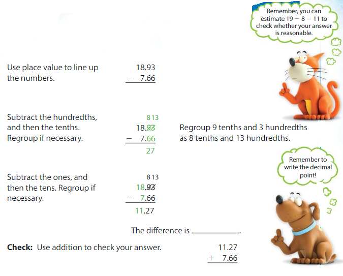 Big Ideas Math Solutions Grade 5 Chapter 3 Add and Subtract Decimals 3.4 4