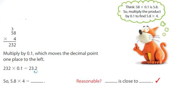 Big Ideas Math Solutions Grade 5 Chapter 5 Multiply Decimals 5.4 2