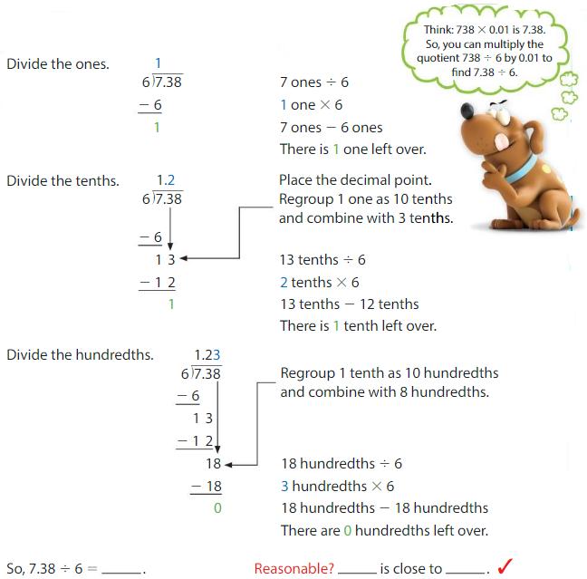 Big Ideas Math Solutions Grade 5 Chapter 7 Divide Decimals 7.4 2