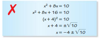 Big Ideas Math Answer Key Algebra 1 Chapter 9 Solving Quadratic Equations 9.4 5