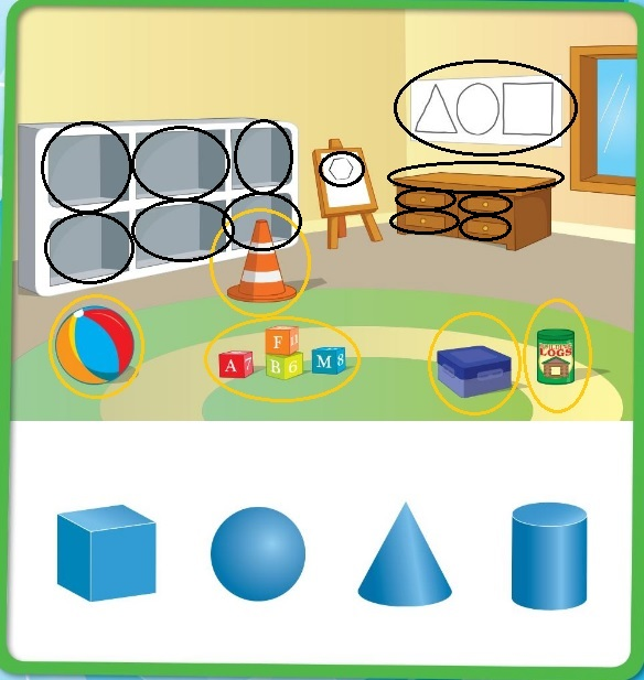 Big-Ideas-Math-Book-Grade-K-Answer-Key-Chapter-12- Identify-Three-Dimensional-Shapes-Lesson-12.1-Two-and-Three-Dimensional-Shapes-Explore-and-Grow
