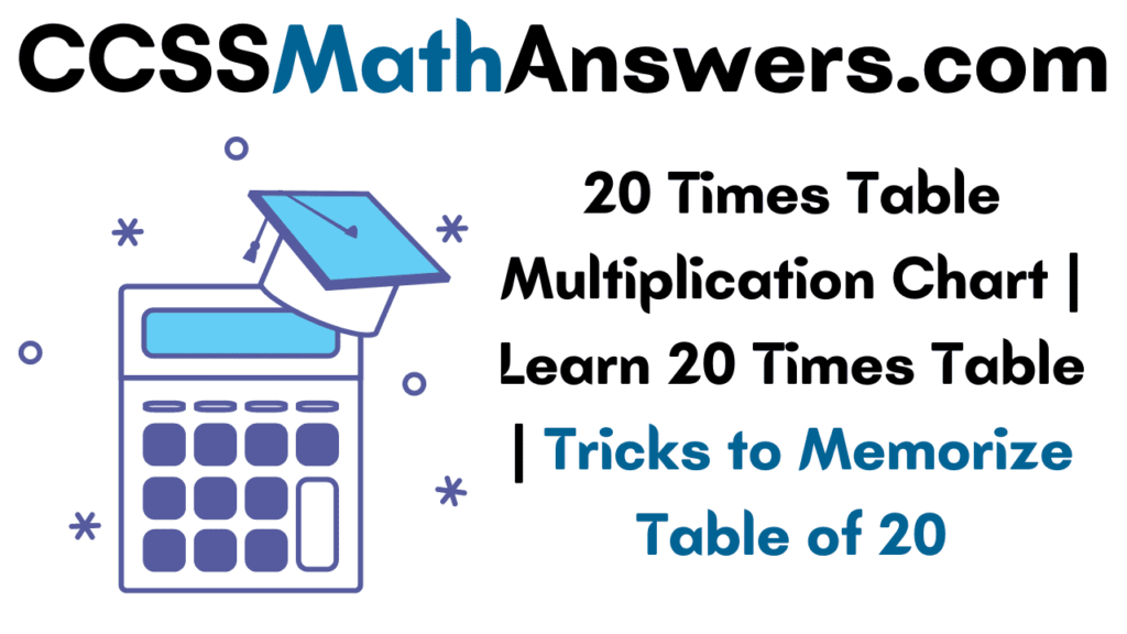 20 Times Table Multiplication Chart