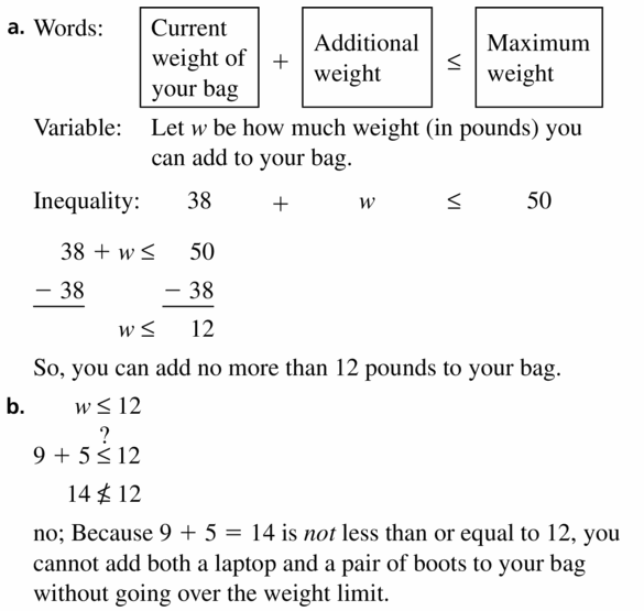 Big Ideas Math Algebra 1 Answer Key Chapter 2 Solving Linear Inequalities 2.2 Question 25