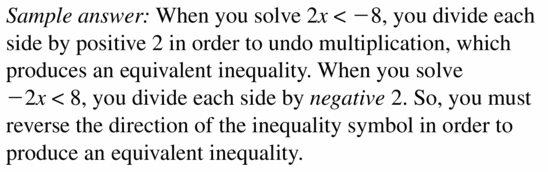 Big Ideas Math Algebra 1 Answer Key Chapter 2 Solving Linear Inequalities 2.3 Question 1