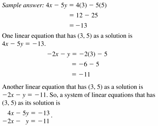 Big Ideas Math Algebra 1 Answers Chapter 5 Solving Systems of Linear Equations 5.2 Question 21