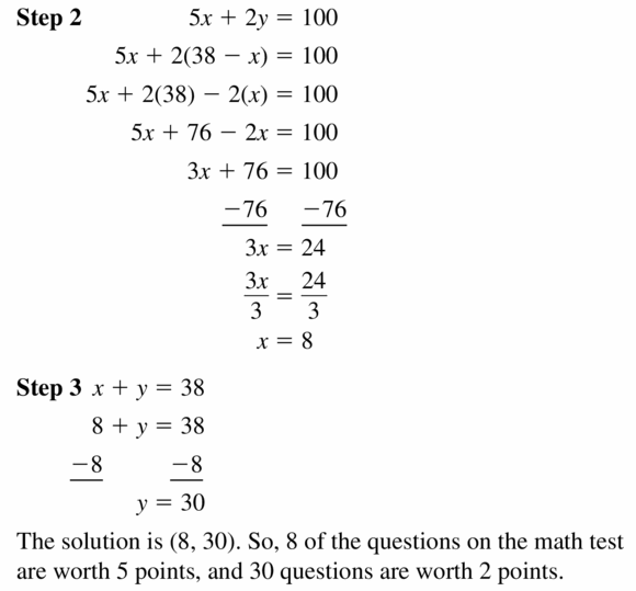 Big Ideas Math Algebra 1 Answers Chapter 5 Solving Systems of Linear Equations 5.2 Question 25.2