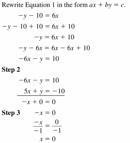 Big Ideas Math Algebra 1 Answers Chapter 5 Solving Systems of Linear Equations 5.3 Question 9.1