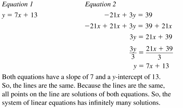 Big Ideas Math Algebra 1 Answers Chapter 5 Solving Systems of Linear Equations 5.4 Question 17.1