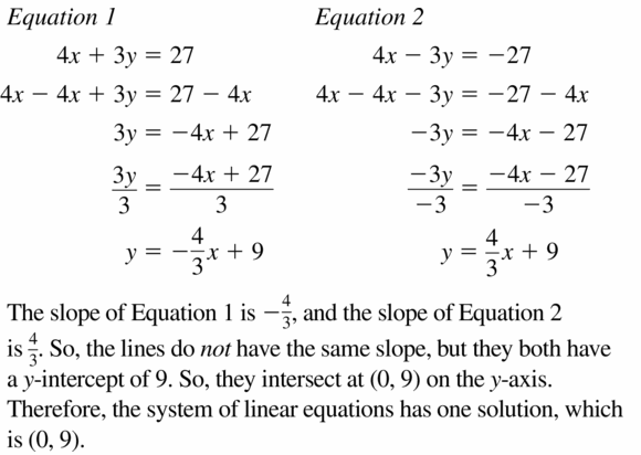 Big Ideas Math Algebra 1 Answers Chapter 5 Solving Systems of Linear Equations 5.4 Question 19