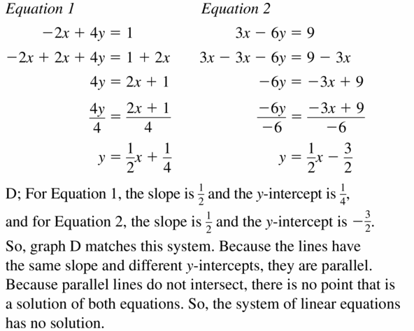Big Ideas Math Algebra 1 Answers Chapter 5 Solving Systems of Linear Equations 5.4 Question 7.1