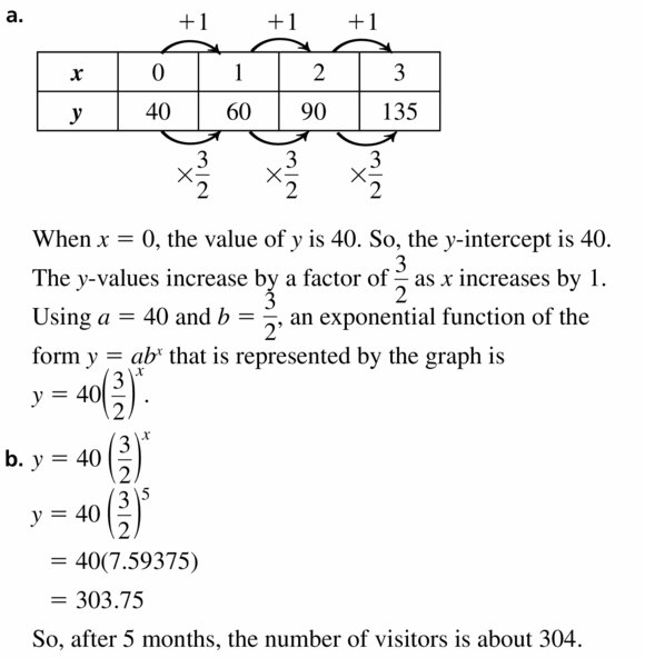 Big Ideas Math Algebra 1 Answers Chapter 6 Exponential Functions and Sequences 6.3 Question 51