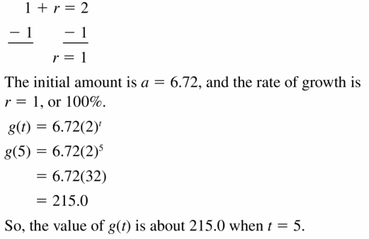 Big Ideas Math Algebra 1 Answers Chapter 6 Exponential Functions and Sequences 6.4 Question 11