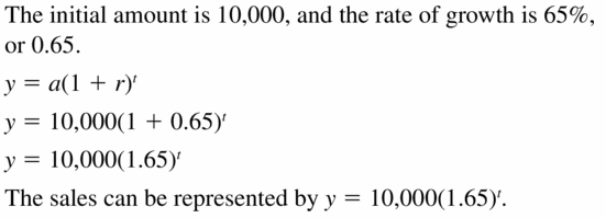 Big Ideas Math Algebra 1 Answers Chapter 6 Exponential Functions and Sequences 6.4 Question 13
