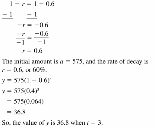 Big Ideas Math Algebra 1 Answers Chapter 6 Exponential Functions and Sequences 6.4 Question 19