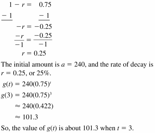 Big Ideas Math Algebra 1 Answers Chapter 6 Exponential Functions and Sequences 6.4 Question 21