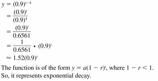 Big Ideas Math Algebra 1 Answers Chapter 6 Exponential Functions and Sequences 6.4 Question 49