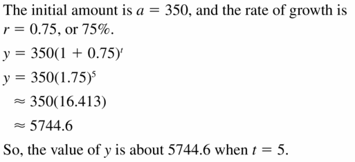 Big Ideas Math Algebra 1 Answers Chapter 6 Exponential Functions and Sequences 6.4 Question 5