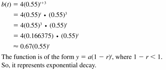 Big Ideas Math Algebra 1 Answers Chapter 6 Exponential Functions and Sequences 6.4 Question 55