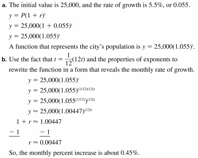 Big Ideas Math Algebra 1 Answers Chapter 6 Exponential Functions and Sequences 6.4 Question 63.1