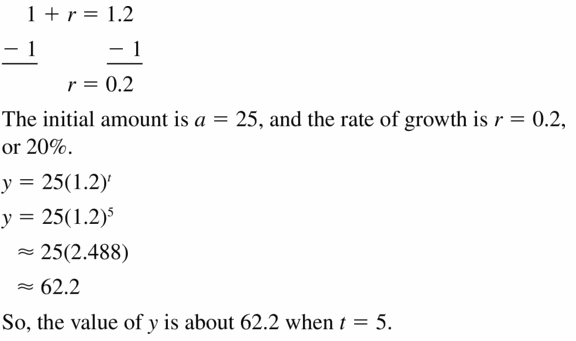 Big Ideas Math Algebra 1 Answers Chapter 6 Exponential Functions and Sequences 6.4 Question 7