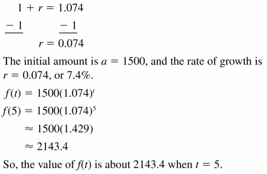 Big Ideas Math Algebra 1 Answers Chapter 6 Exponential Functions and Sequences 6.4 Question 9