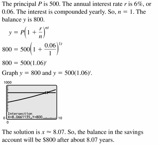 Big Ideas Math Algebra 1 Answers Chapter 6 Exponential Functions and Sequences 6.5 Question 49