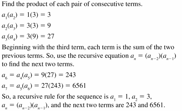 Big Ideas Math Algebra 1 Answers Chapter 6 Exponential Functions and Sequences 6.7 Question 43