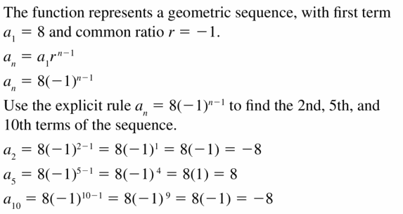 Big Ideas Math Algebra 1 Answers Chapter 6 Exponential Functions and Sequences 6.7 Question 49