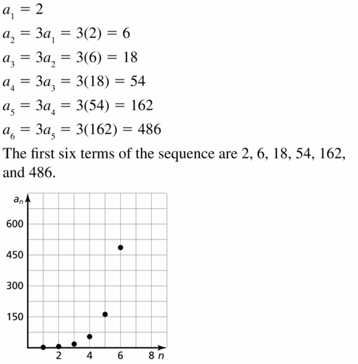 Big Ideas Math Algebra 1 Answers Chapter 6 Exponential Functions and Sequences 6.7 Question 9