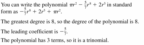 Big Ideas Math Algebra 1 Answers Chapter 7 Polynomial Equations and Factoring 7.1 Question 19