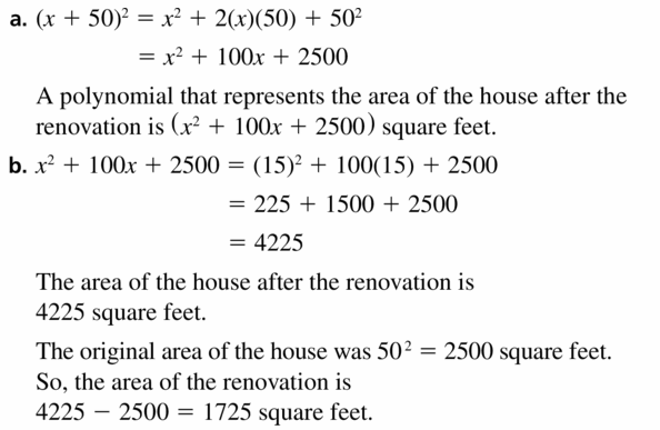 Big Ideas Math Algebra 1 Answers Chapter 7 Polynomial Equations and Factoring 7.3 Question 33