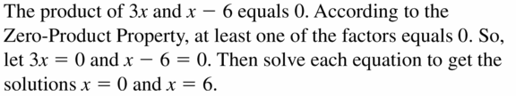 Big Ideas Math Algebra 1 Answers Chapter 7 Polynomial Equations and Factoring 7.4 Question 1