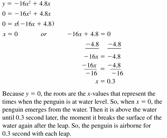 Big Ideas Math Algebra 1 Answers Chapter 7 Polynomial Equations and Factoring 7.4 Question 41
