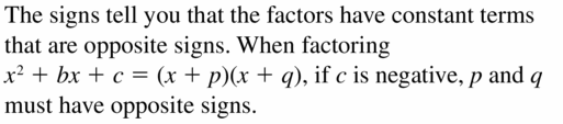 Big Ideas Math Algebra 1 Answers Chapter 7 Polynomial Equations and Factoring 7.5 Question 1