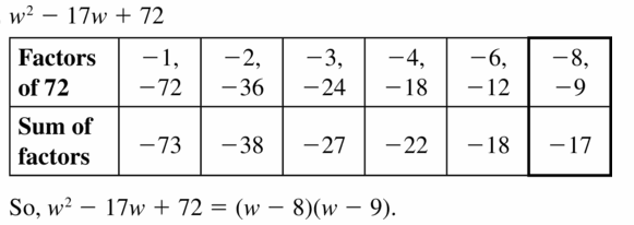 Big Ideas Math Algebra 1 Answers Chapter 7 Polynomial Equations and Factoring 7.5 Question 13