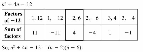 Big Ideas Math Algebra 1 Answers Chapter 7 Polynomial Equations and Factoring 7.5 Question 17