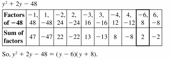 Big Ideas Math Algebra 1 Answers Chapter 7 Polynomial Equations and Factoring 7.5 Question 19