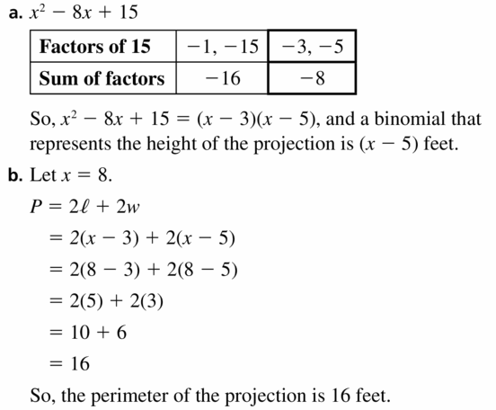Big Ideas Math Algebra 1 Answers Chapter 7 Polynomial Equations and Factoring 7.5 Question 25