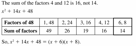 Big Ideas Math Algebra 1 Answers Chapter 7 Polynomial Equations and Factoring 7.5 Question 27
