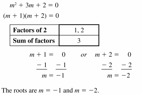 Big Ideas Math Algebra 1 Answers Chapter 7 Polynomial Equations and Factoring 7.5 Question 29