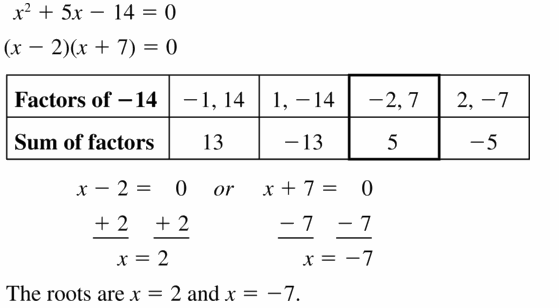 Big Ideas Math Algebra 1 Answers Chapter 7 Polynomial Equations and Factoring 7.5 Question 31