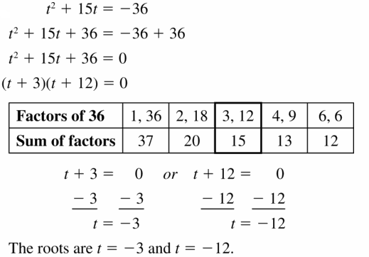 Big Ideas Math Algebra 1 Answers Chapter 7 Polynomial Equations and Factoring 7.5 Question 33