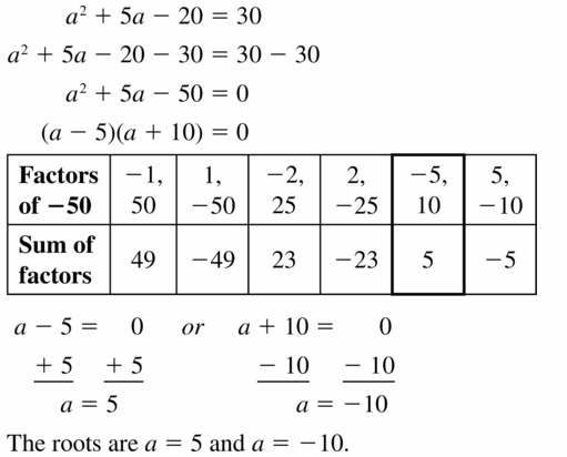 Big Ideas Math Algebra 1 Answers Chapter 7 Polynomial Equations and Factoring 7.5 Question 35