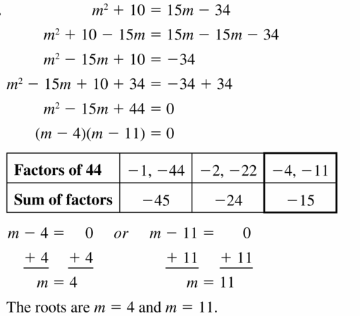 Big Ideas Math Algebra 1 Answers Chapter 7 Polynomial Equations and Factoring 7.5 Question 37