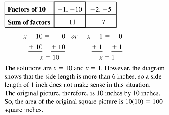 Big Ideas Math Algebra 1 Answers Chapter 7 Polynomial Equations and Factoring 7.5 Question 39.2