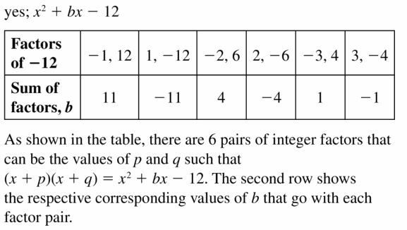 Big Ideas Math Algebra 1 Answers Chapter 7 Polynomial Equations and Factoring 7.5 Question 41
