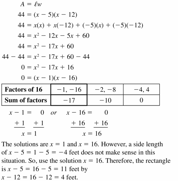 Big Ideas Math Algebra 1 Answers Chapter 7 Polynomial Equations and Factoring 7.5 Question 43