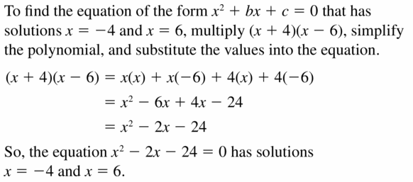 Big Ideas Math Algebra 1 Answers Chapter 7 Polynomial Equations and Factoring 7.5 Question 45